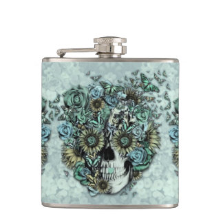 Constant, pale blue butterfly skull flask
