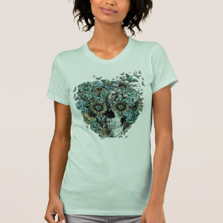 Constant, pale blue butterfly skull t-shirts