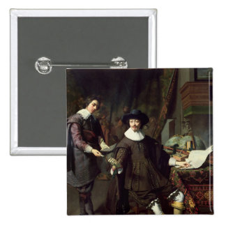 Constantijn Huygens  and his clerk, 1627 2 Inch Square Button