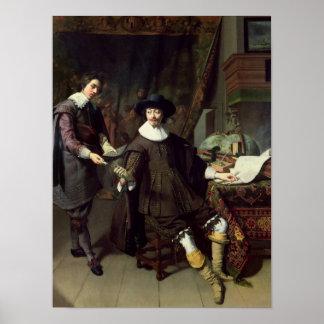 Constantijn Huygens  and his clerk, 1627 Poster