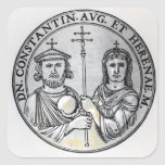 Constantina VI y su madre Irene Calcomanías Cuadradas Personalizadas