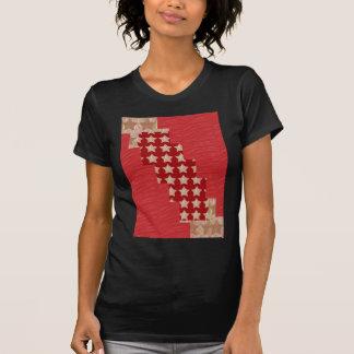 Constelación de GOLDSTAR en modelo rojo sedoso de Camiseta