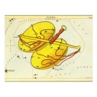 Constelación de la escala del libra de la postal
