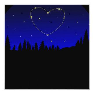 """Constelación de la estrella del corazón invitación 5.25"""" x 5.25"""""""