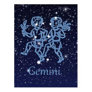 Constelación de los géminis y muestra del zodiaco postal