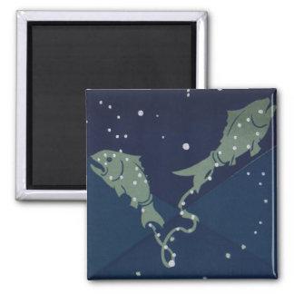 Constelación de los pescados de Piscis de la Imán Cuadrado