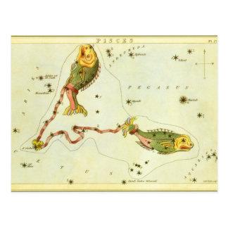 Constelación de los pescados de Piscis de la Postal