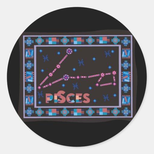 Constelación de Piscis Etiquetas Redondas