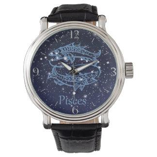 Constelación de Piscis y muestra del zodiaco con Relojes De Pulsera