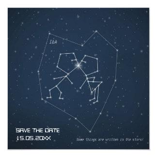 """Constelación del amor - reserva del boda la fecha invitación 5.25"""" x 5.25"""""""