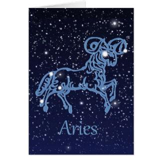 Constelación del aries y muestra del zodiaco con tarjeta pequeña