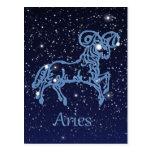Constelación del aries y muestra del zodiaco con tarjetas postales