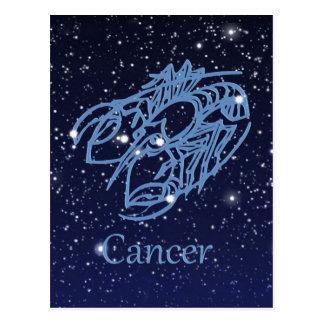 Constelación del cáncer y muestra del zodiaco con postal