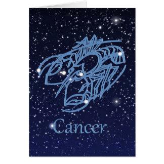 Constelación del cáncer y muestra del zodiaco con tarjeta pequeña