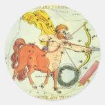 Constelación del sagitario de la astrología del etiqueta redonda