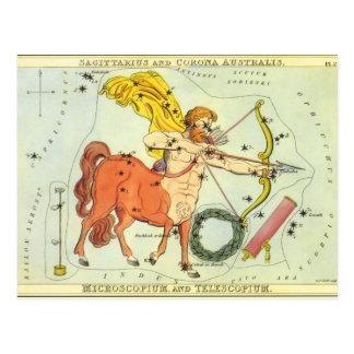 Constelación del sagitario de la astrología del postal