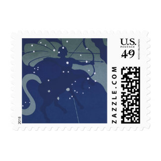 Constelación del sagitario de la astrología del timbre postal