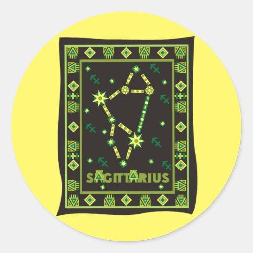 Constelación del sagitario pegatina redonda