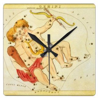 Constelación gemela de los géminis de la relojes de pared