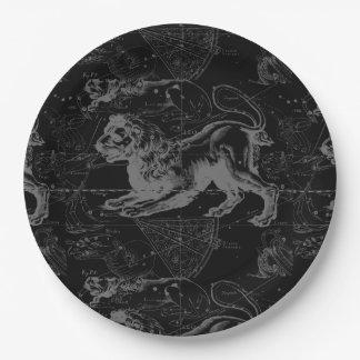 Constelación Hevelius 1690 de Leo en negro Platos De Papel