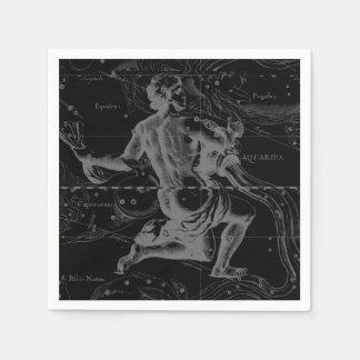 Constelación Hevelius 1690 del acuario en negro Servilleta Desechable