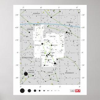 Constelación Orión la carta del cazador Posters