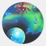 Constelaciones Pegatina Redonda
