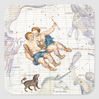 Constellation of Gemini with Canis Minor, plate 13 Square Sticker