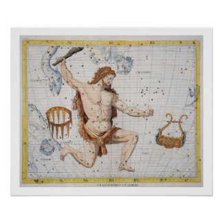 Constellation of Hercules with Corona and Lyra, pl Poster
