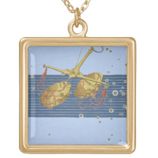 Constellation of Libra, from 'Uranometria' by Joha Gold Plated Necklace