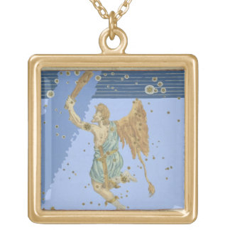 Constellation of Orion, from 'Uranometria' by Joha Gold Plated Necklace