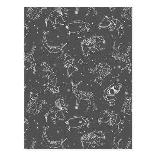 Constellations Night Star Sky Grey / Andrea Lauren Postcard