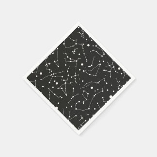 Constellations White and Black Paper Napkin