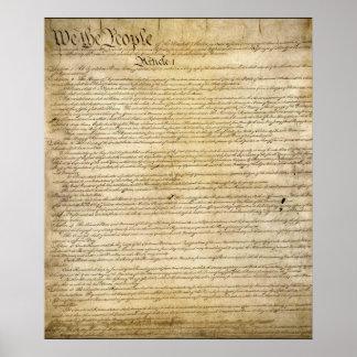 Constitución de Estados Unidos del vintage Póster