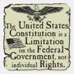Constitución de Estados Unidos Pegatinas Cuadradas Personalizadas