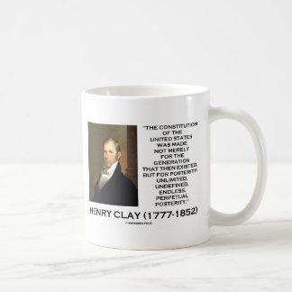 Constitución de Henry Clay de la posteridad de Est Taza Básica Blanca