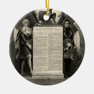 Constitución francesa de la Declaración de Adorno Navideño Redondo De Cerámica