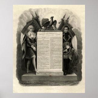 Constitución francesa de la Declaración de Derecho Póster