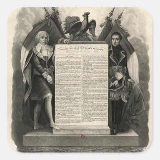Constitución francesa de la Declaración de Pegatina Cuadrada