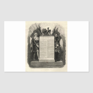 Constitución francesa de la Declaración de Pegatina Rectangular