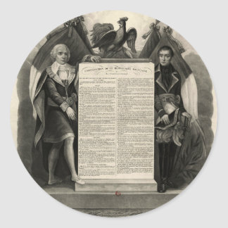 Constitución francesa de la Declaración de Pegatina Redonda