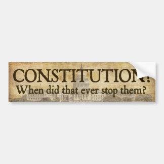 ¿Constitución? Pegatina para el parachoques Pegatina Para Auto