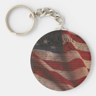 Constitution and Flag Basic Round Button Keychain