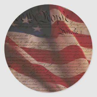 Constitution and Flag Classic Round Sticker