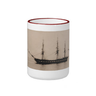 Constitution at anchor United States Historic ship Ringer Coffee Mug