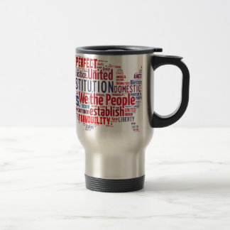 Constitution of the United States in Shape of USA 15 Oz Stainless Steel Travel Mug