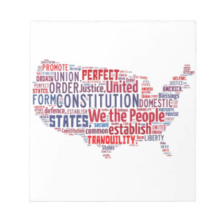 Constitution of the United States in Shape of USA Note Pad