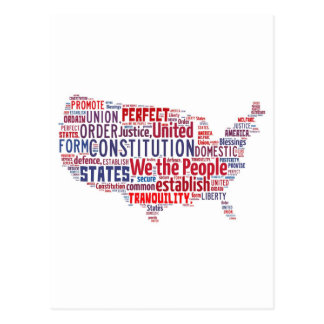 Constitution of the United States in Shape of USA Postcard
