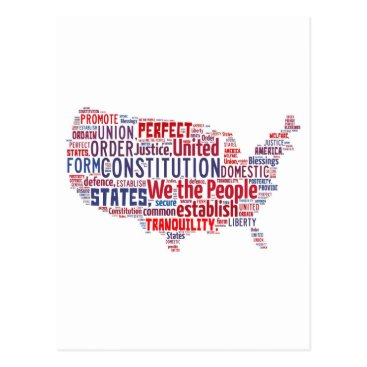 CustomCloudArt Constitution of the United States in Shape of USA Postcard