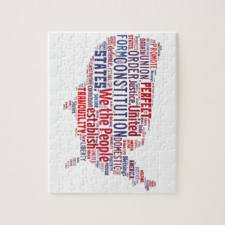 Constitution of the United States in Shape of USA Jigsaw Puzzle